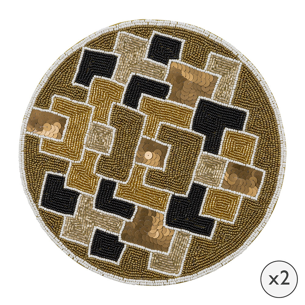 A by AMARA - Geometric Beaded Placemats - Set of 2
