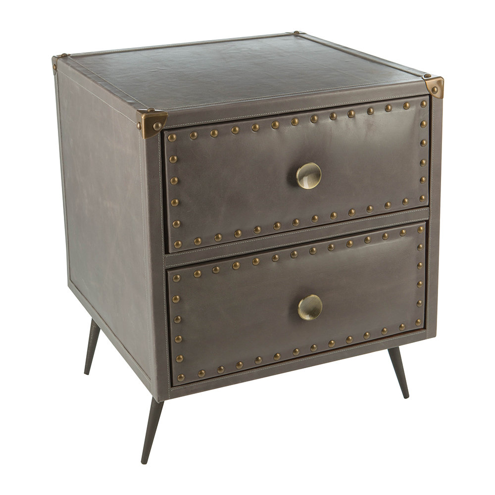 A by AMARA - Leather Studded Drawers - Taupe