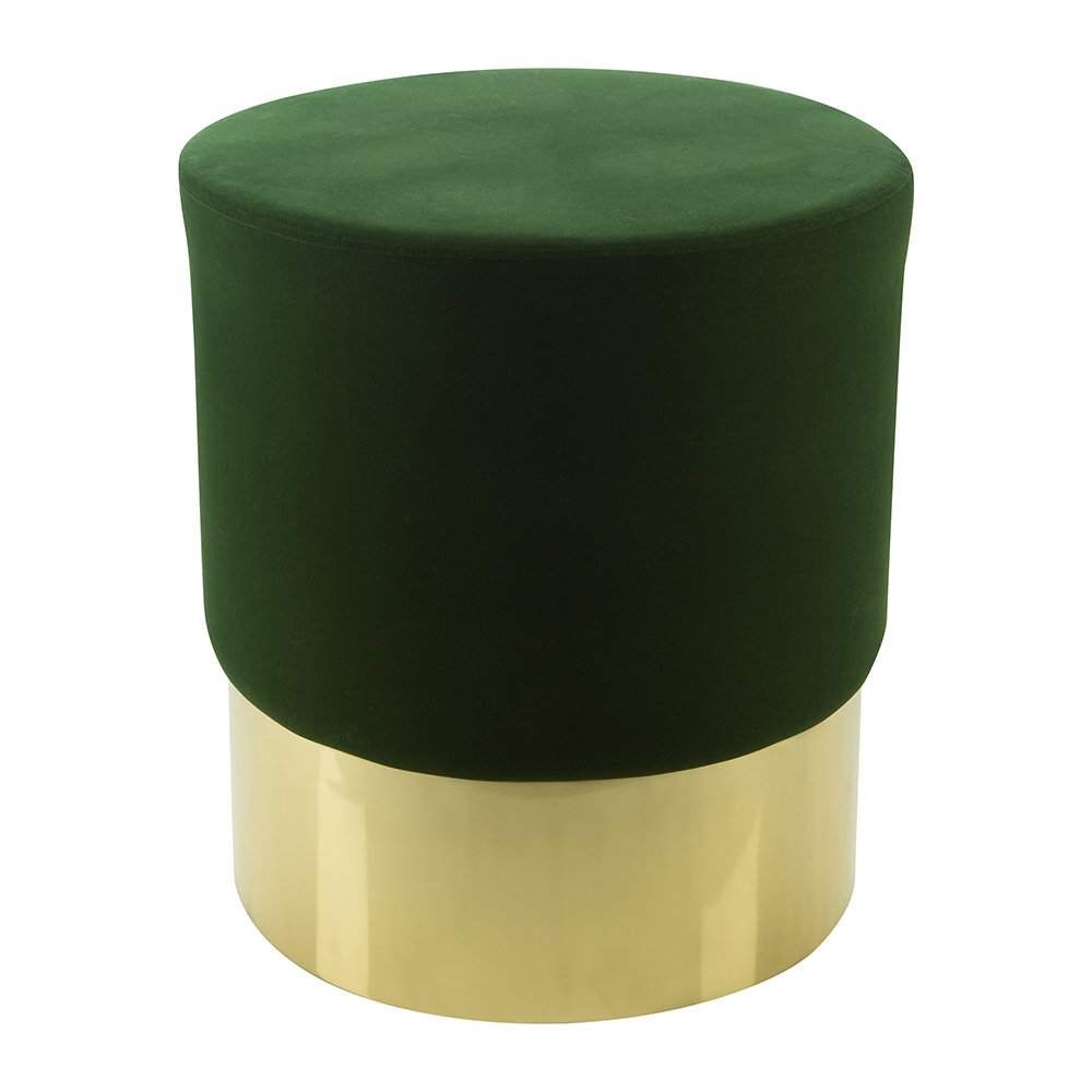 Image of A by AMARA - Round Velvet Stool - Green/Gold
