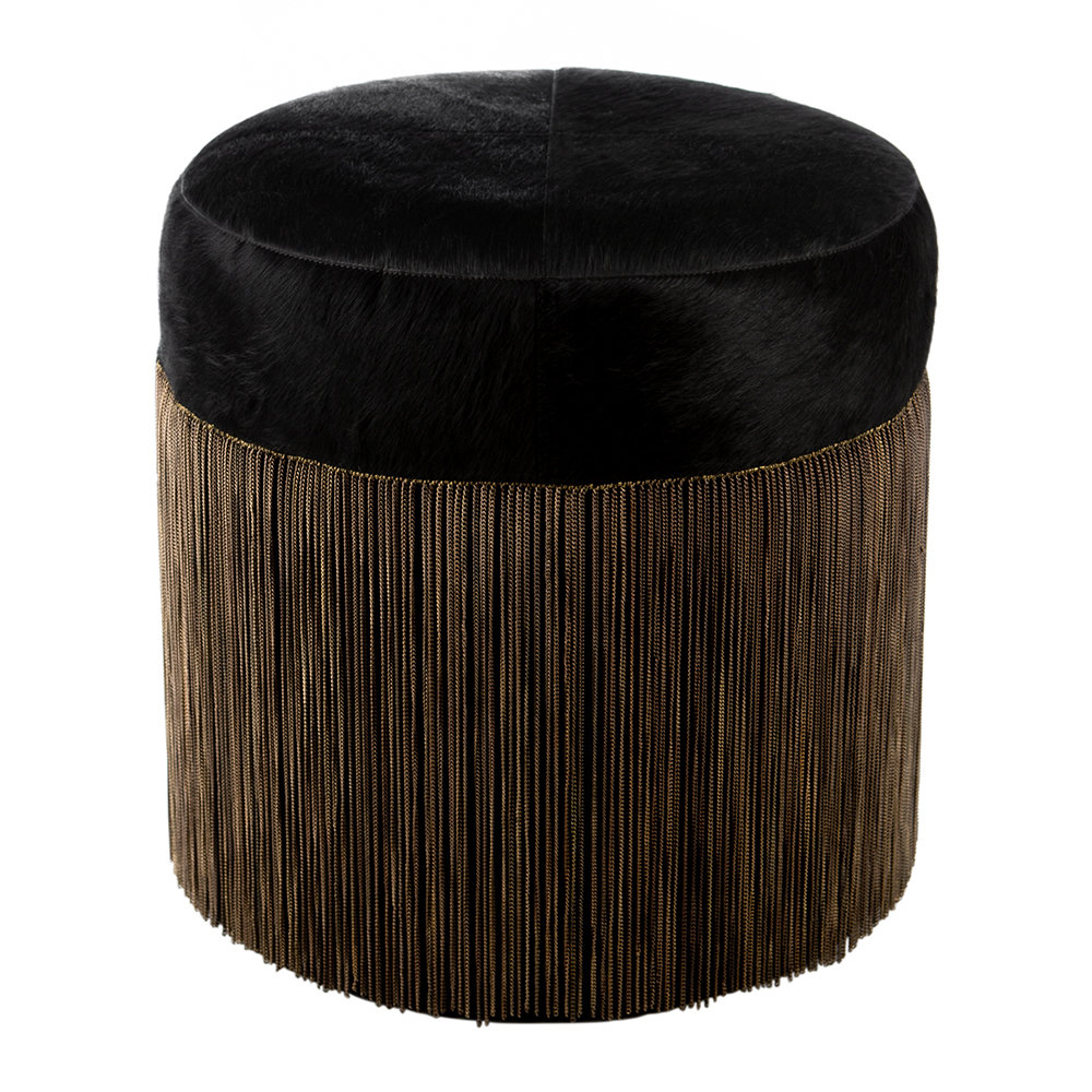 Image of A by AMARA - Cowhide Chain Pouf - Black/Copper