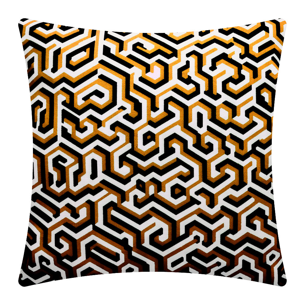 One Nine Eight Five - Maze Cushion - 40x40cm - Ochre/Black