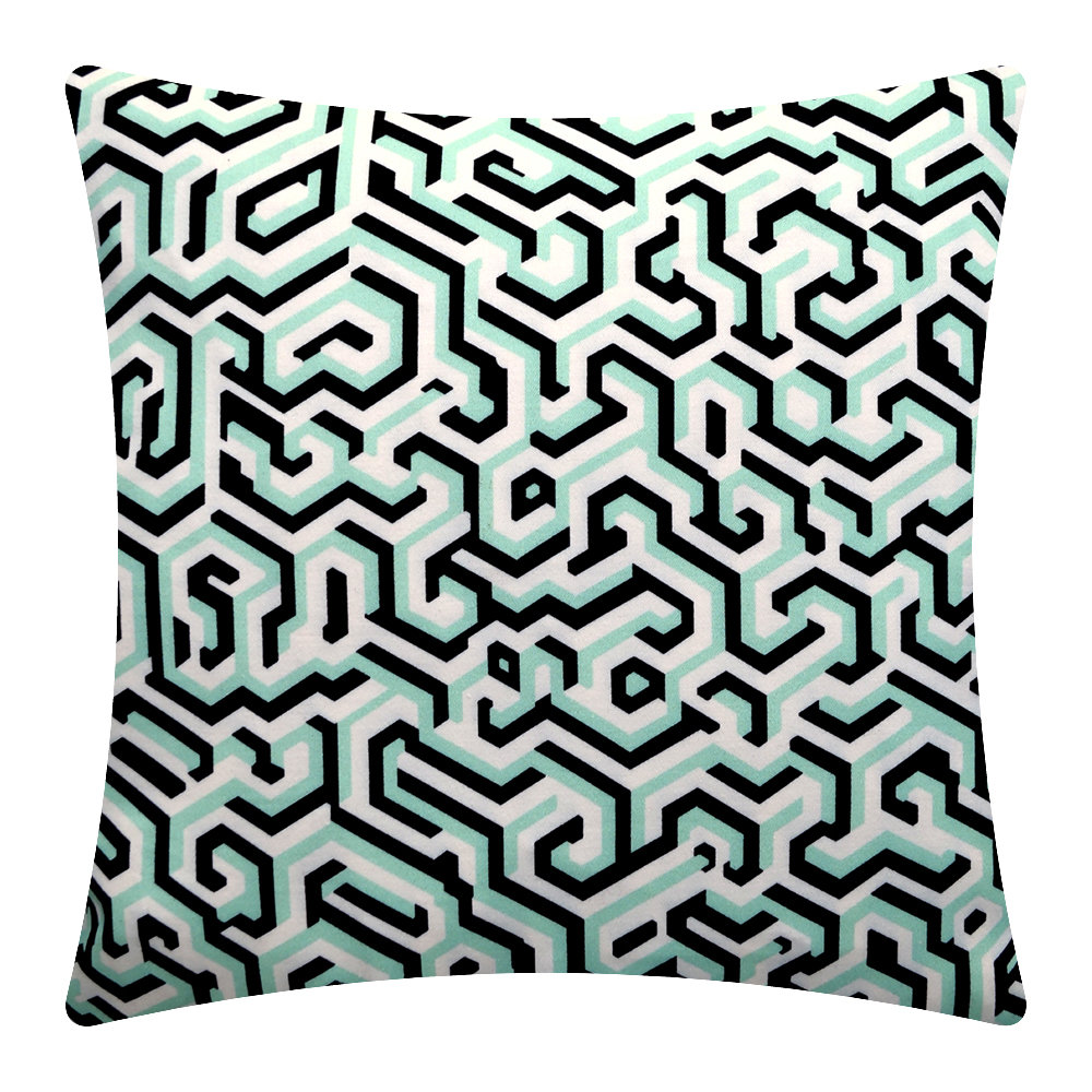 One Nine Eight Five - Maze Cushion - 40x40cm - Jade/Black