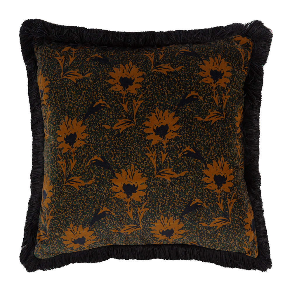 One Nine Eight Five - Flora Cushion - Black/Ochre - 40x40cm