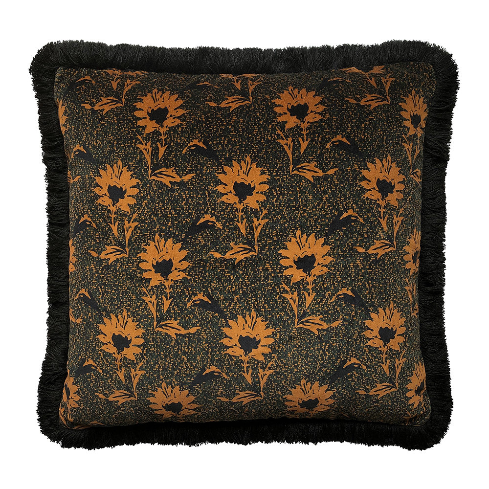 One Nine Eight Five - Flora Cushion - Black/Ochre - 50x50cm