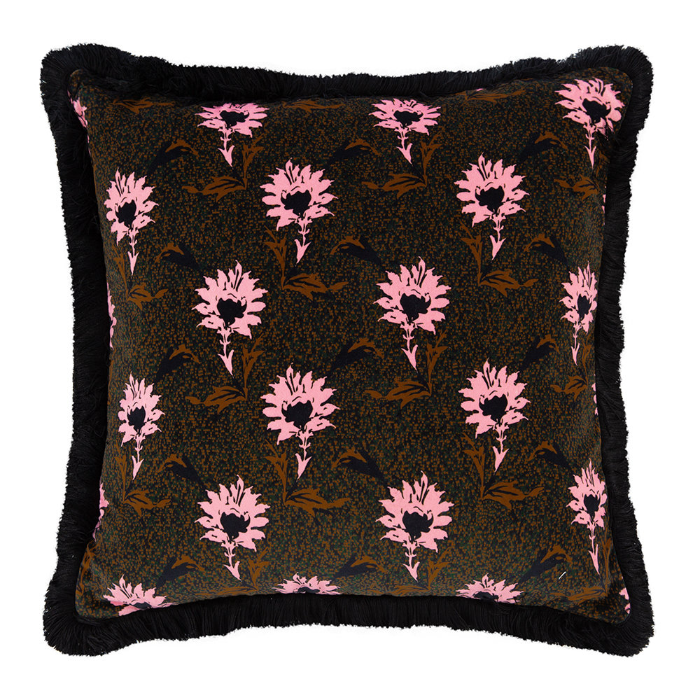 One Nine Eight Five - Flora Cushion - Black/Pink - 50x50cm