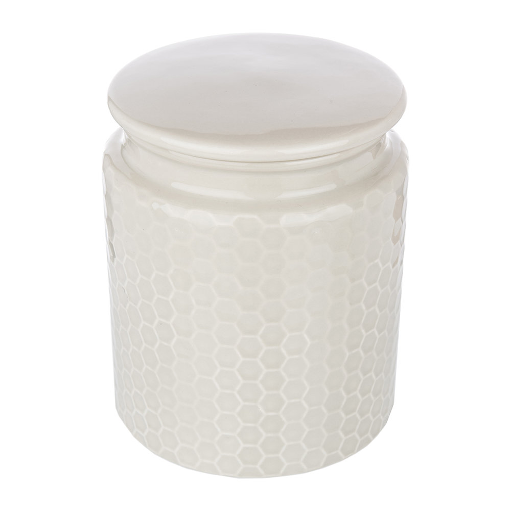 The Kitchen Pantry - Honeycomb Embossed Grey Storage Canister - Large