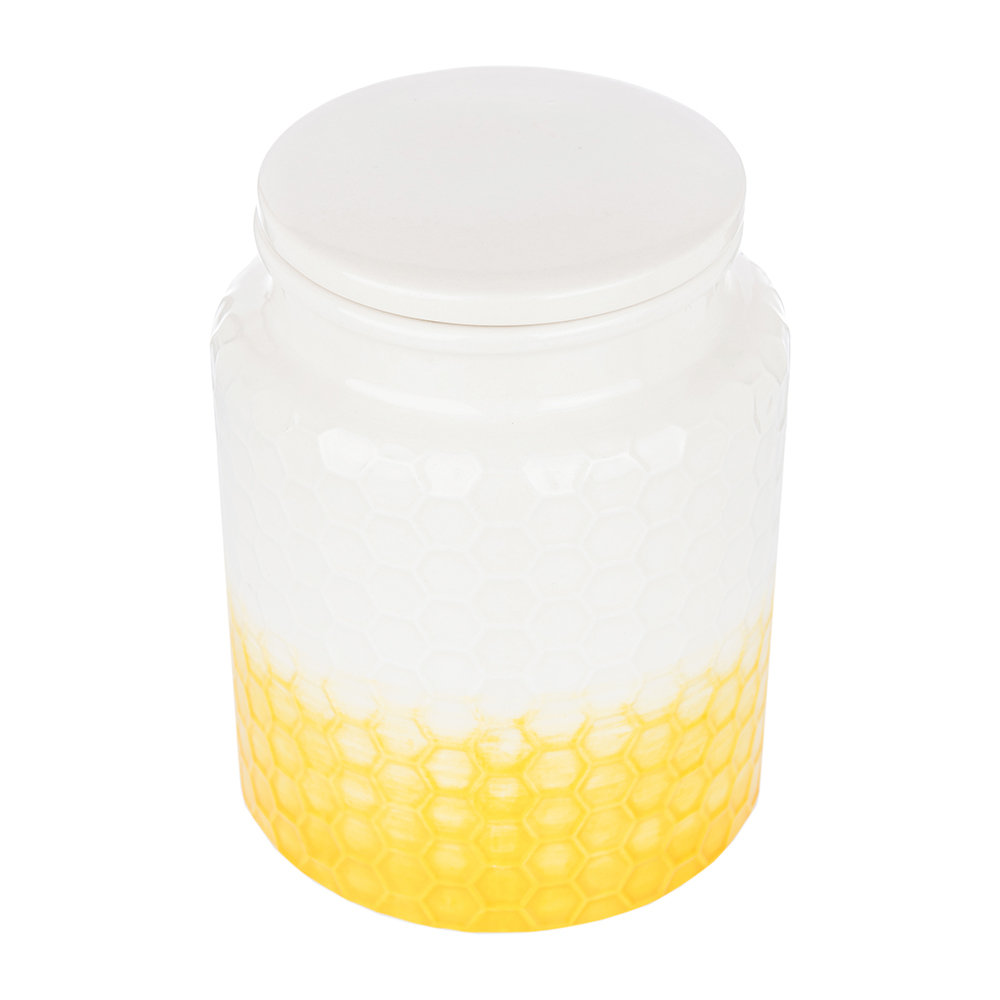 The Kitchen Pantry - Honeycomb Embossed Yellow Storage Canister - Small