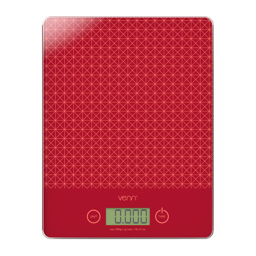 Venn - Digital Scales with Integrated Bowl Scraper - Red