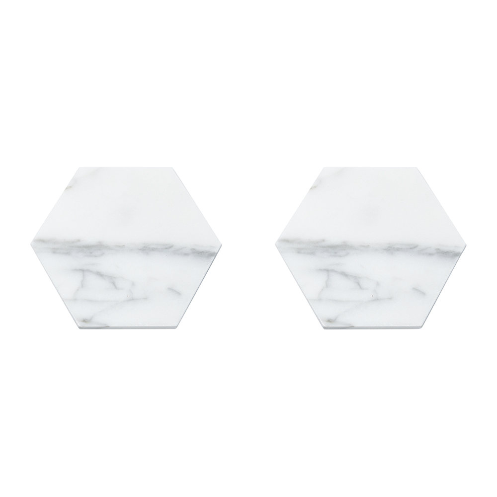 Fiammetta V - Hexagonal Marble Coasters - Set of 2 - White