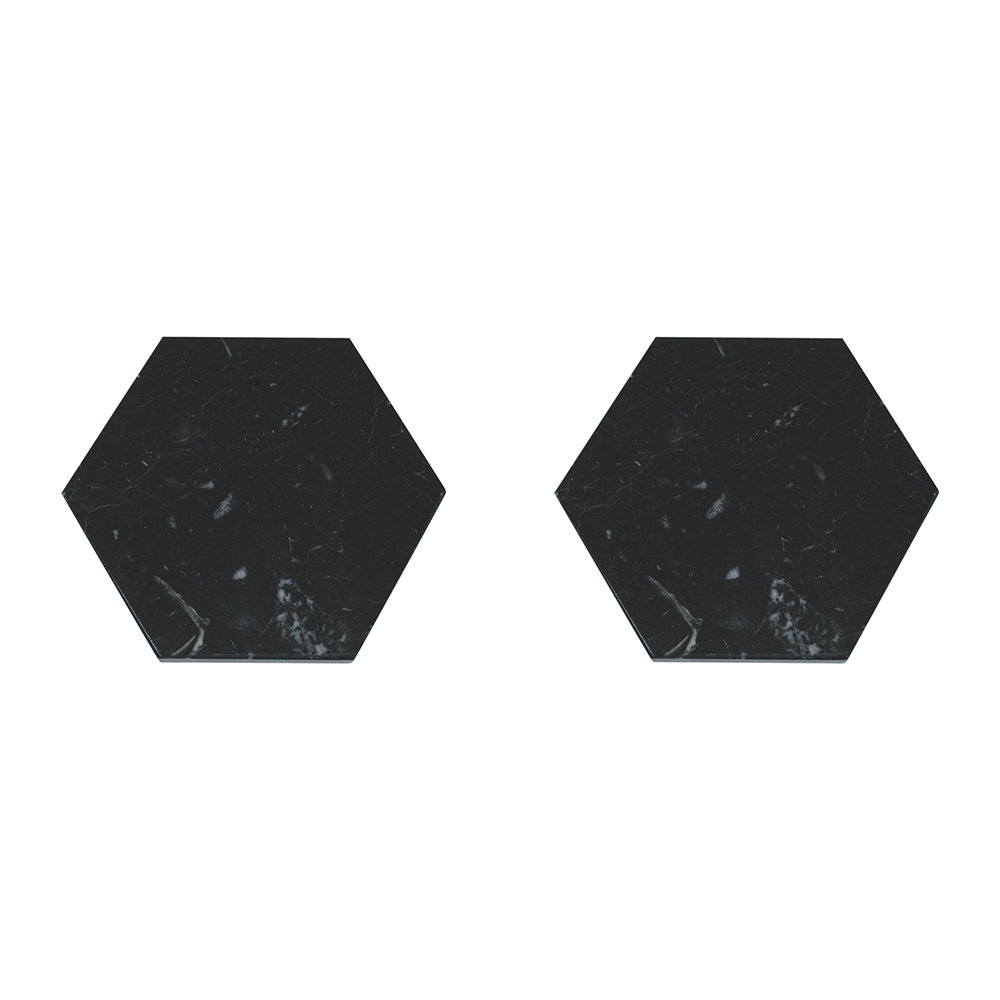 Fiammetta V - Hexagonal Marble Coasters - Set of 2 - Black