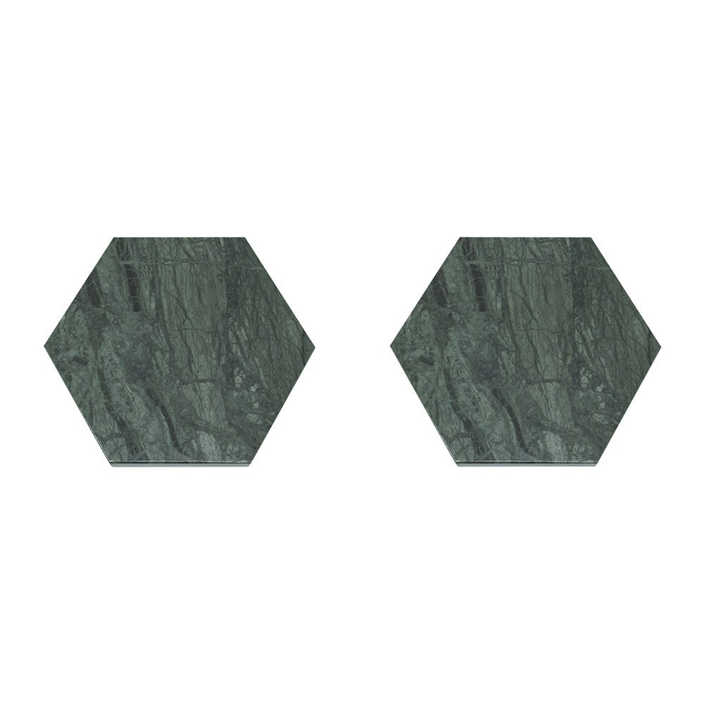 Fiammetta V - Hexagonal Marble Coasters - Set of 2 - Green