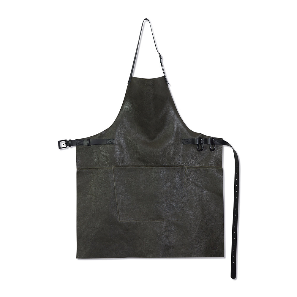 DutchDeluxes - BBQ Style Leather Apron - Vintage Gray/Black