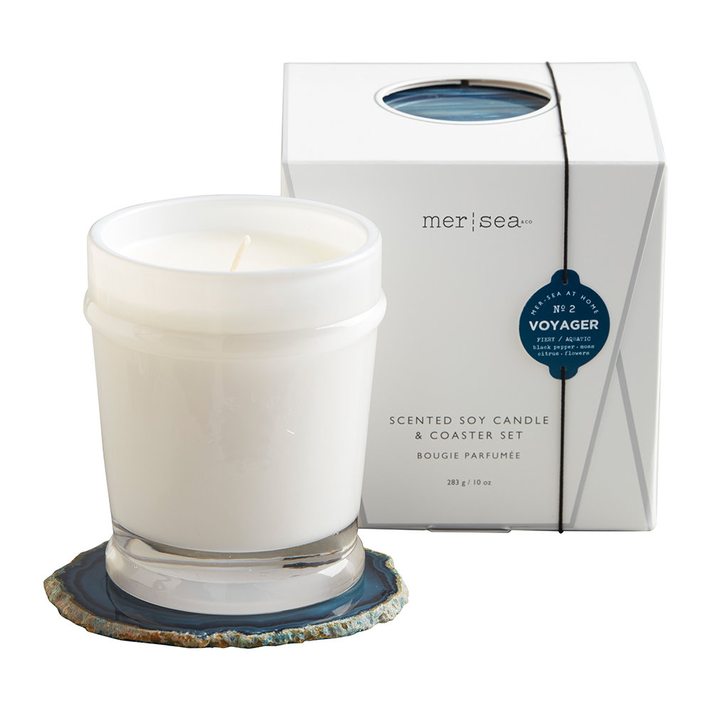 Mer Sea - Scented Candle with Agate Coaster - Voyager