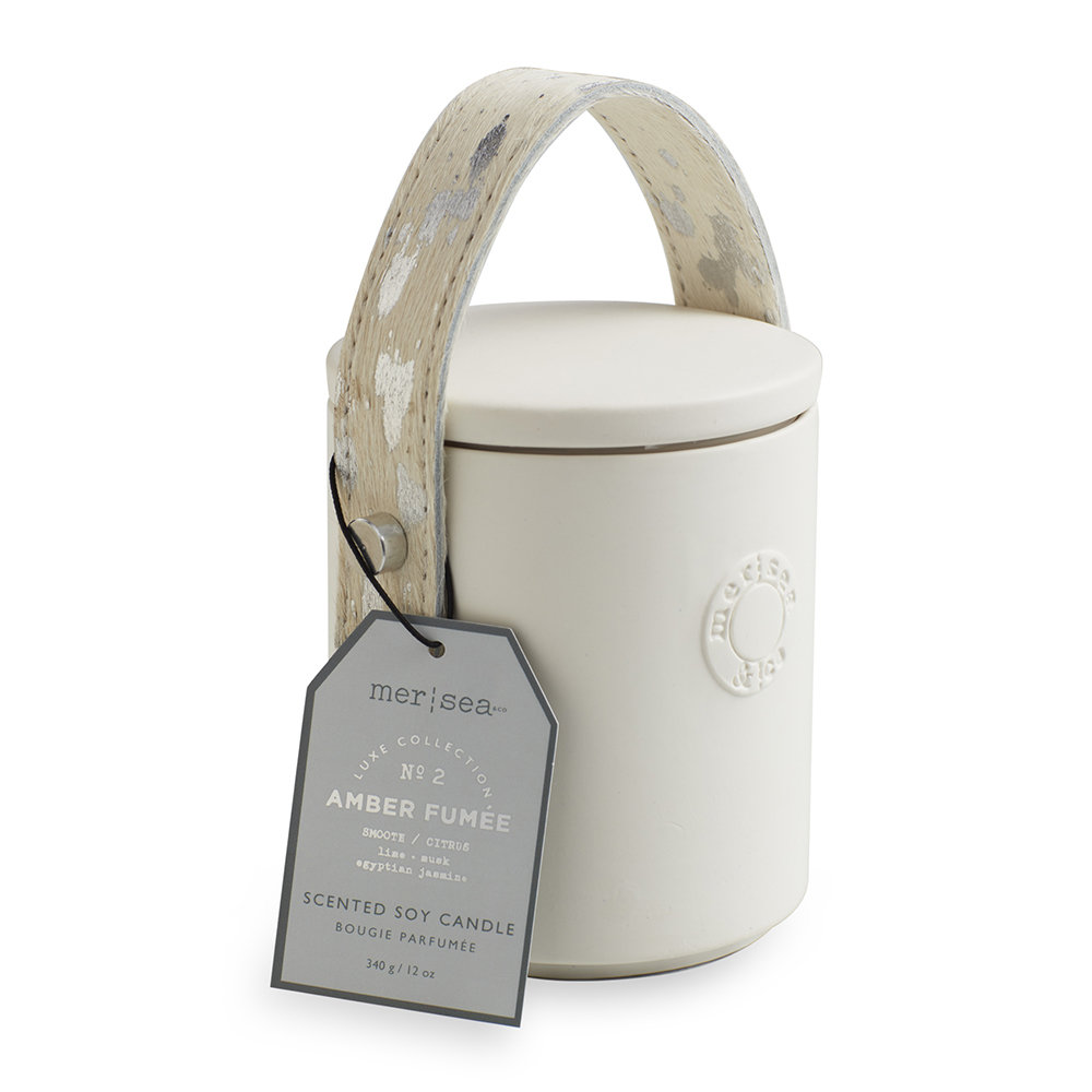 Mer Sea - Luxe Cow Hide Handle Scented Candle - Amber Fumée