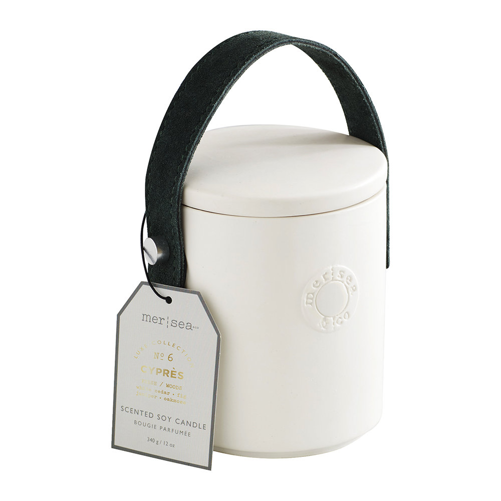 Mer Sea - Luxe Cow Hide Handle Scented Candle - Cyprés