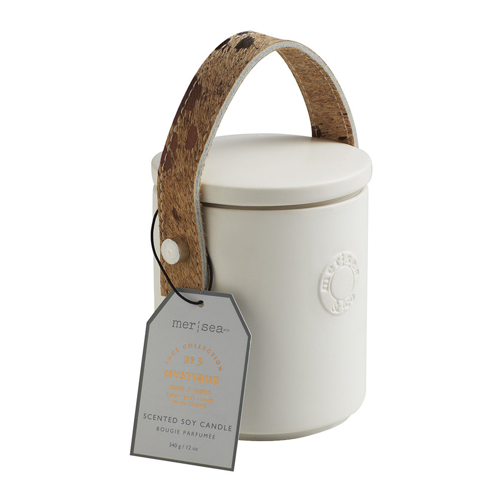 Mer Sea - Luxe Cow Hide Handle Scented Candle - Mystique