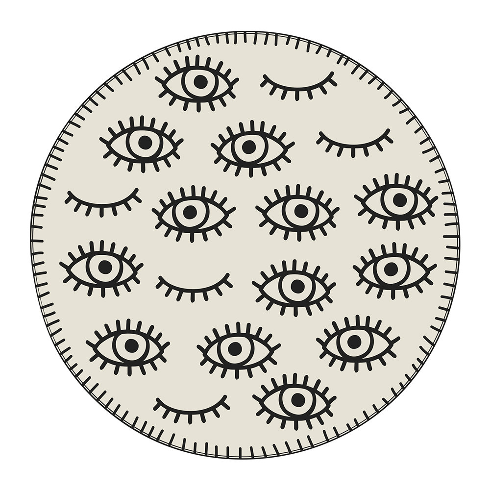 PODEVACHE - Eyes Round Placemat - Cream/Black