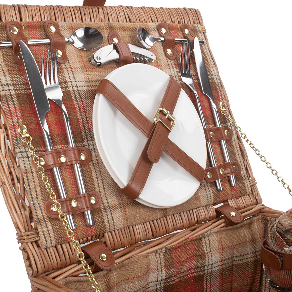 A by Amara - Autumn Red Tartan Hamper - 2 Person