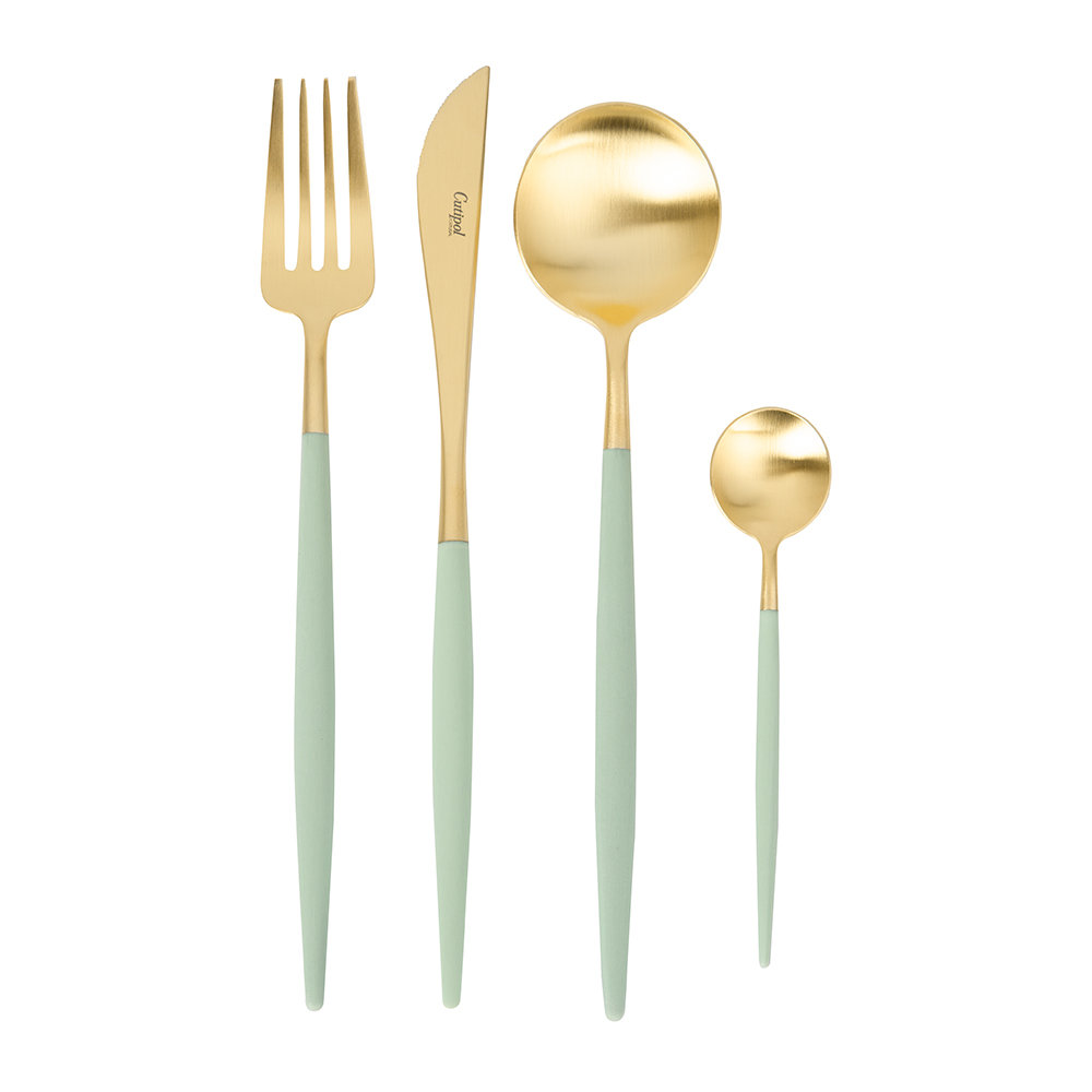 Cutipol - Goa Cutlery Set - 24 Piece - Gold/Mint Green