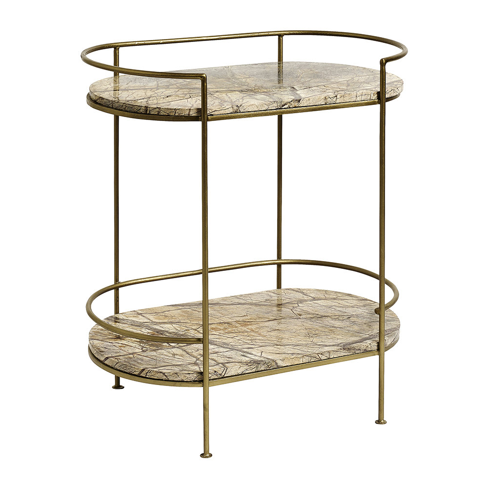 Nordal - Jungle Marble Oval Side Table - Gold