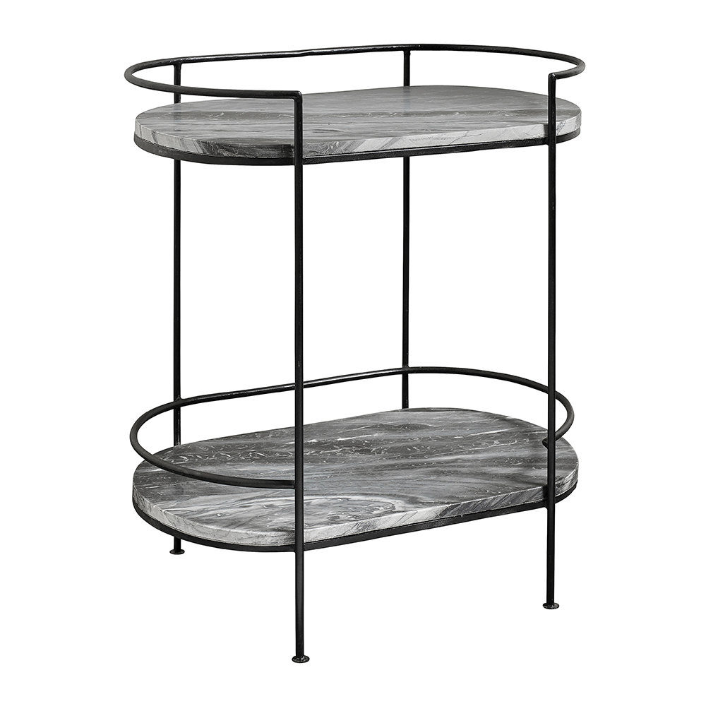 Nordal - Midnight Marble Oval Side Table - Black