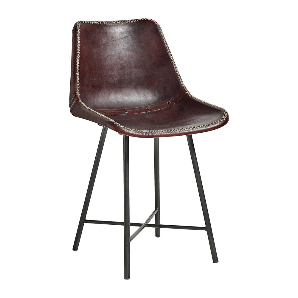 Nordal - Leather Chair with Iron Legs - Dark Brown