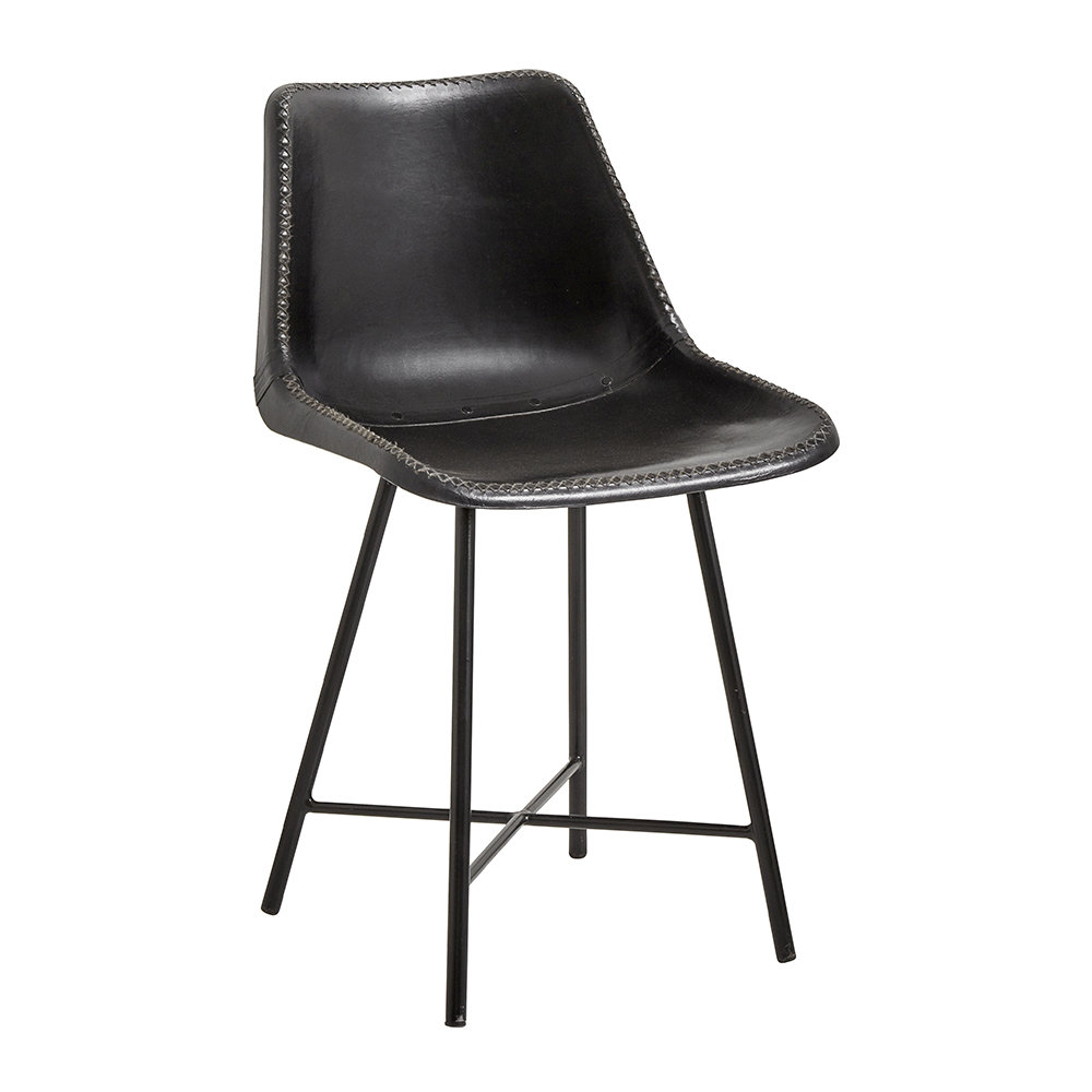 Nordal - Leather Chair with Iron Legs - Black