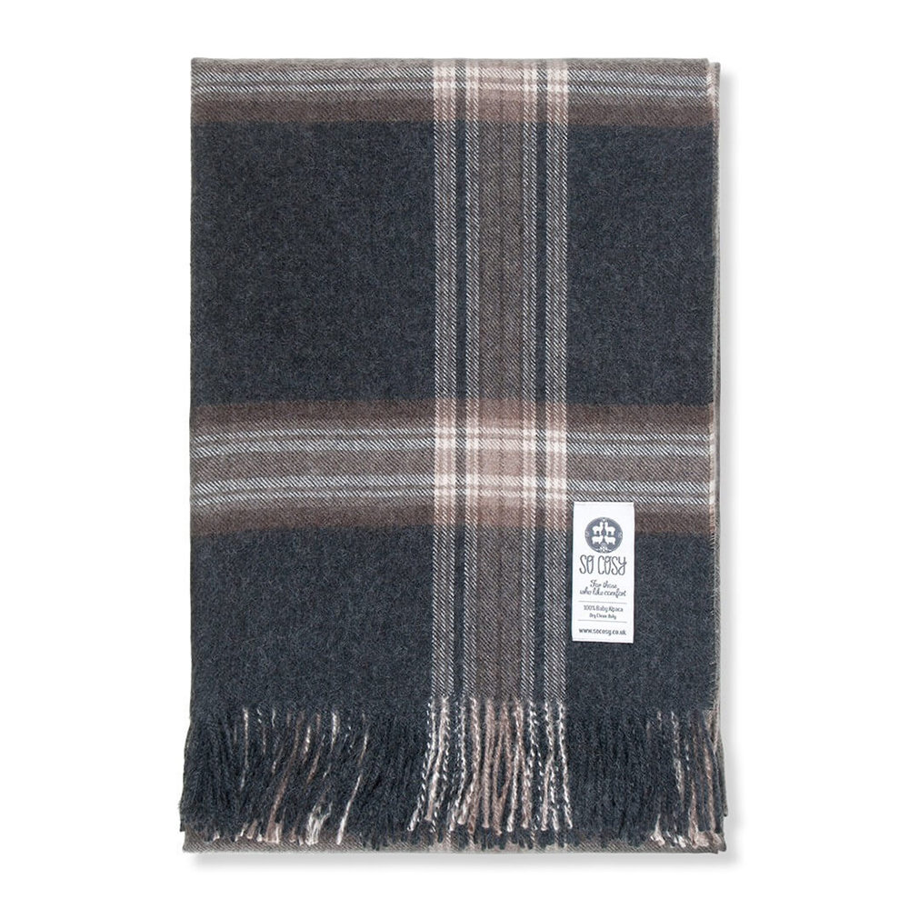 So Cosy - Ebbe Baby Alpaca Wool Throw - 130x200cm - Charcoal/Brown Check