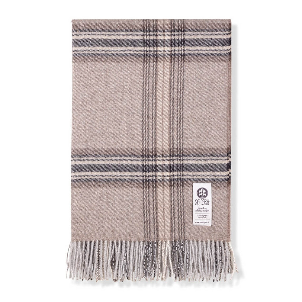 So Cosy - Ebbe Baby Alpaca Wool Throw - 130x200cm - Café au Lait Check