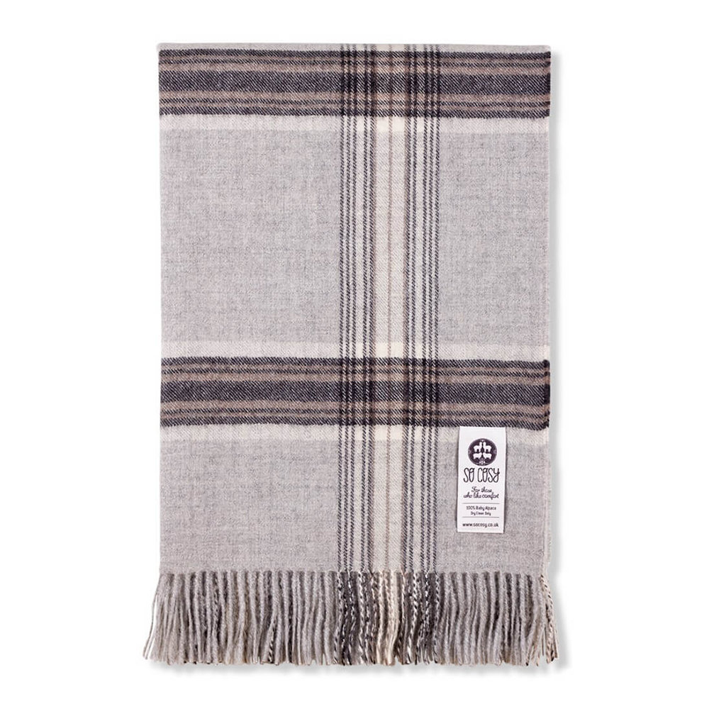 So Cosy - Ebbe Baby Alpaca Wool Throw - 130x200cm - Silver Grey Check