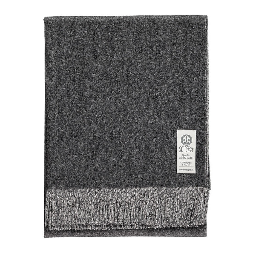 So Cosy - Emery Baby Alpaca Wool Throw - 130x180cm - Charcoal Grey/White