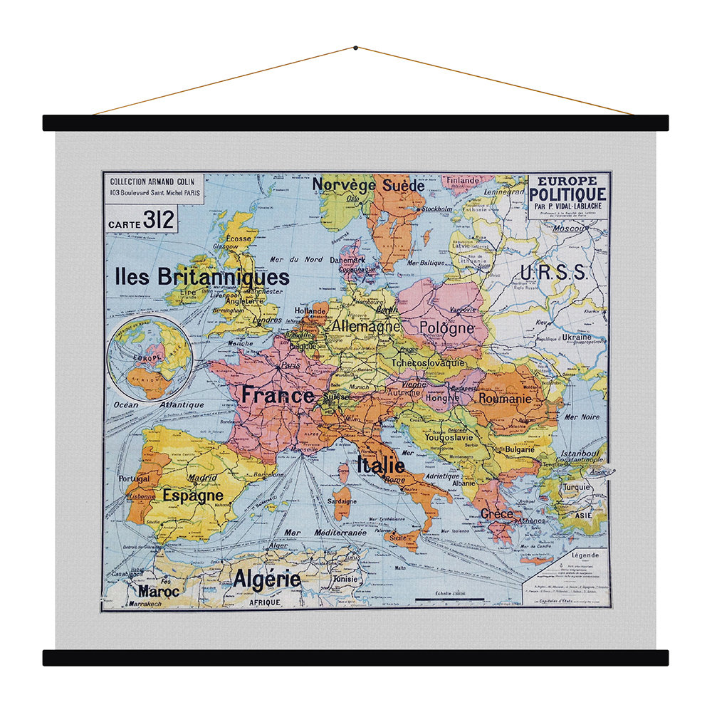 Blue Shaker - Europe Politique Vinatge Map Print