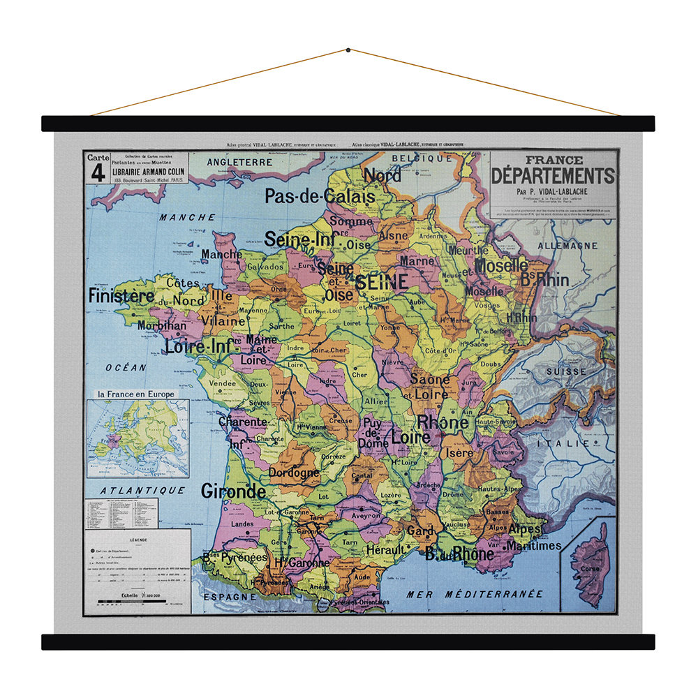 Blue Shaker - France Departments Vintage Map Prints