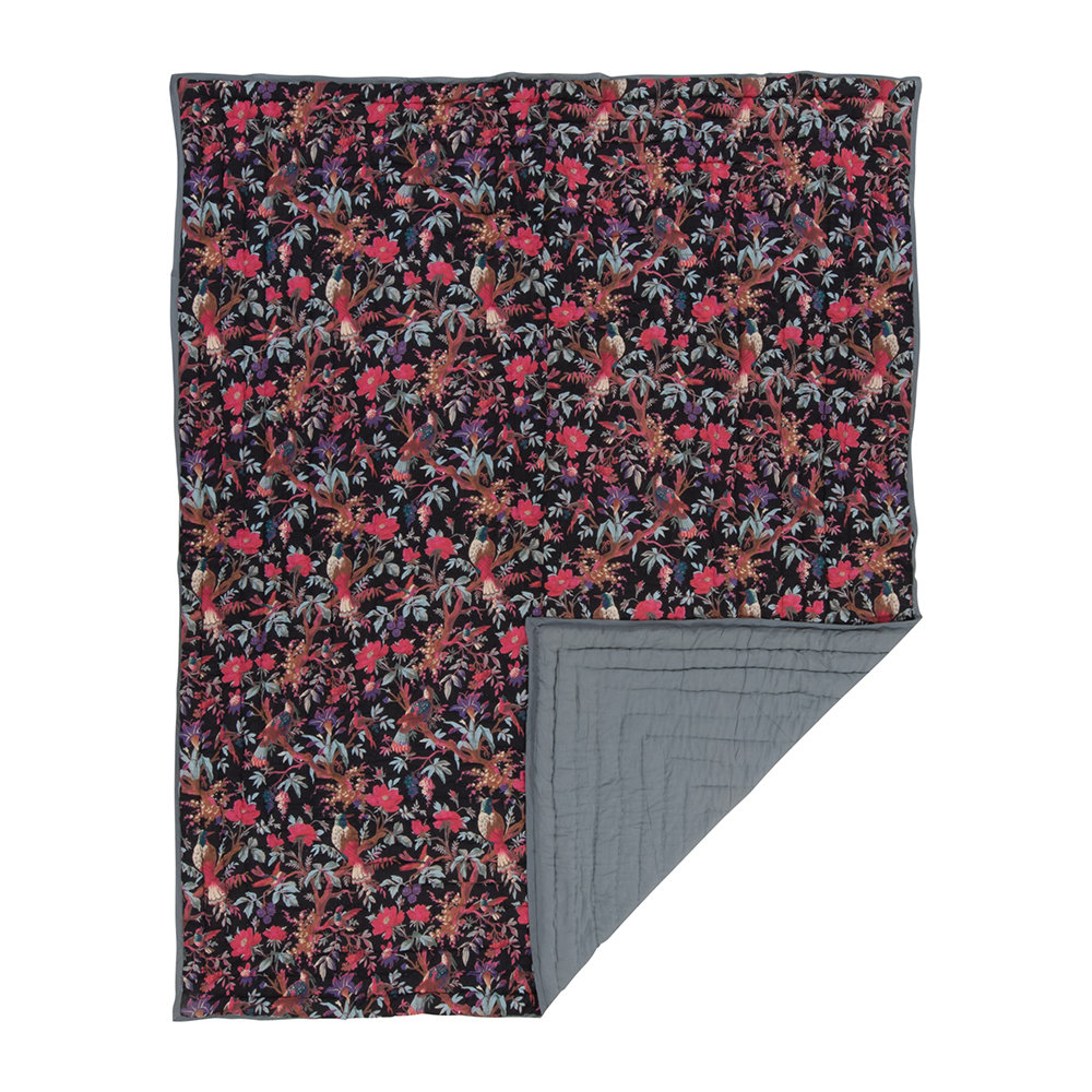 Ian Snow - Cotton Bird of Paradise Bedspread - Black