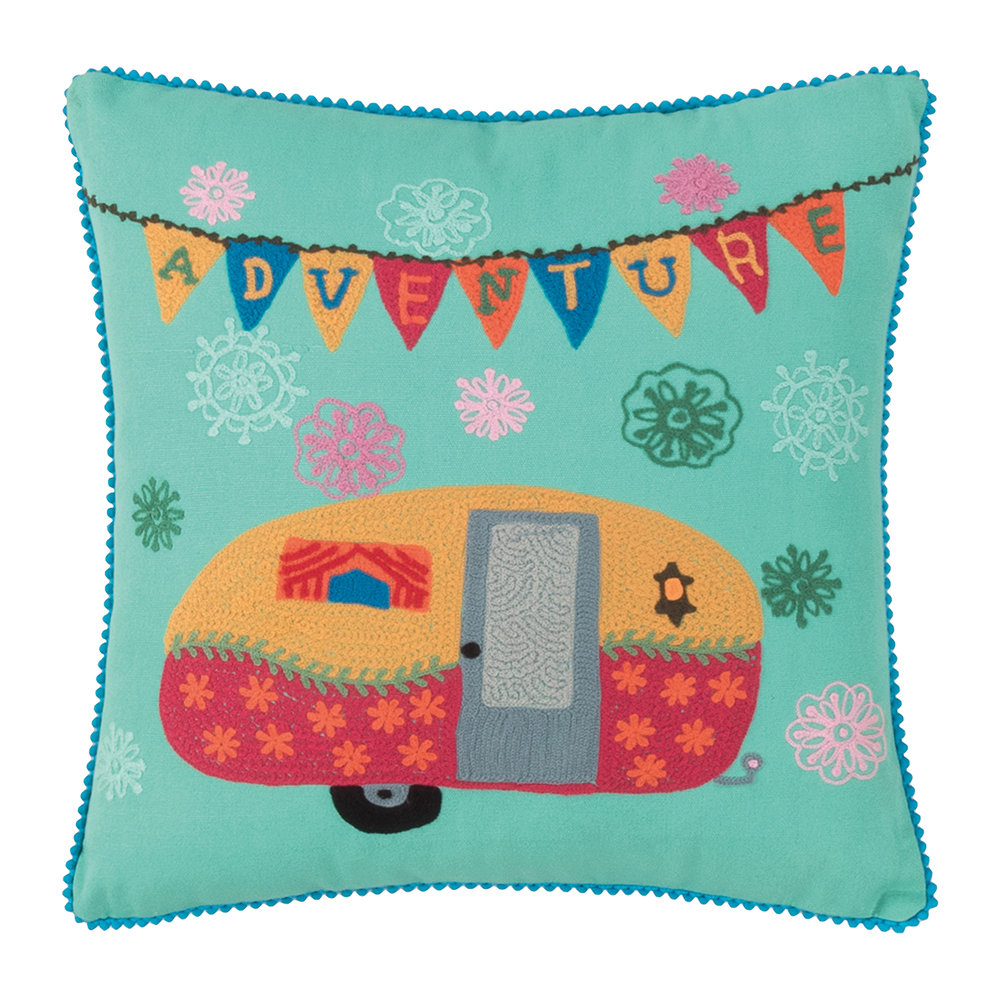 Ian Snow - Cotton Caravan Embroidered Cushion - 42x42cm