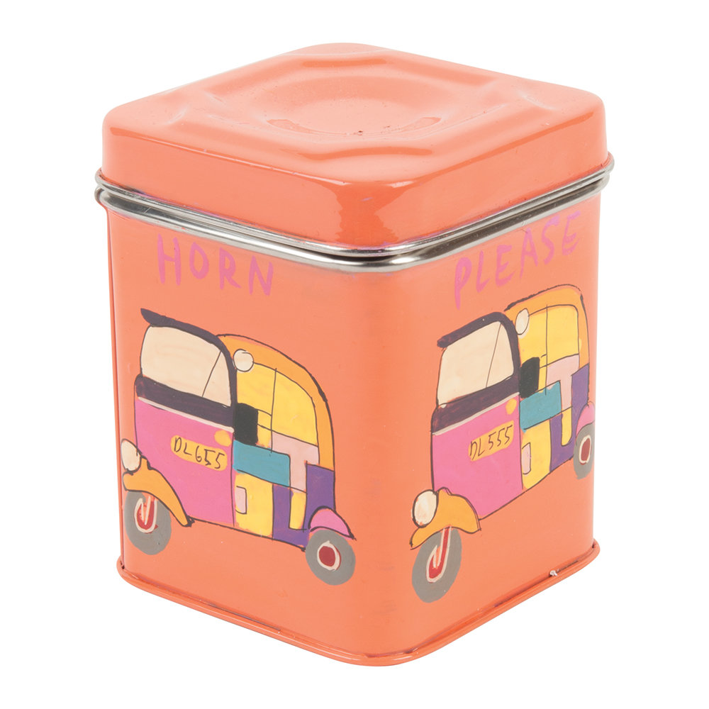 Ian Snow - Hand Painted Rickshaw Stainless Steel Canister - Orange