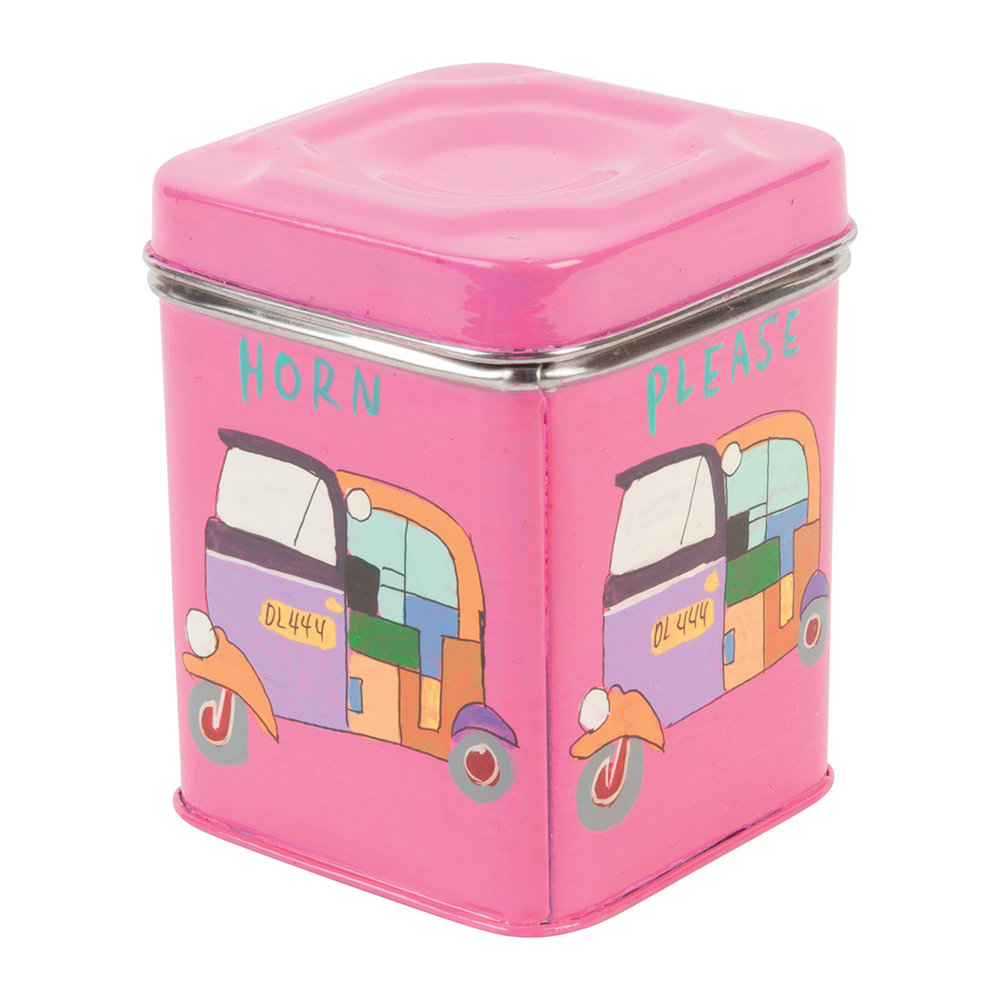 Ian Snow - Hand Painted Rickshaw Stainless Steel Canister - Pink