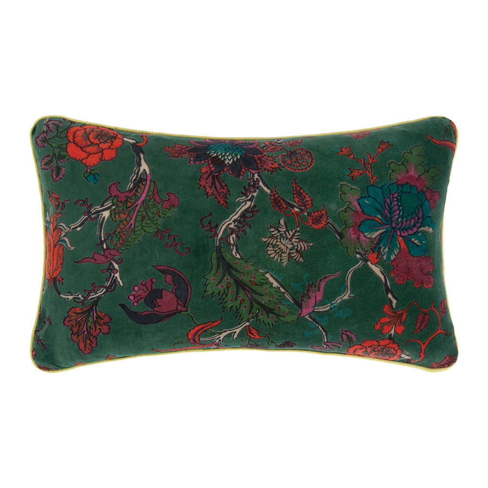Ian Snow - Bayberry Floral Velvet Cushion Cover - Green - 60x35cm