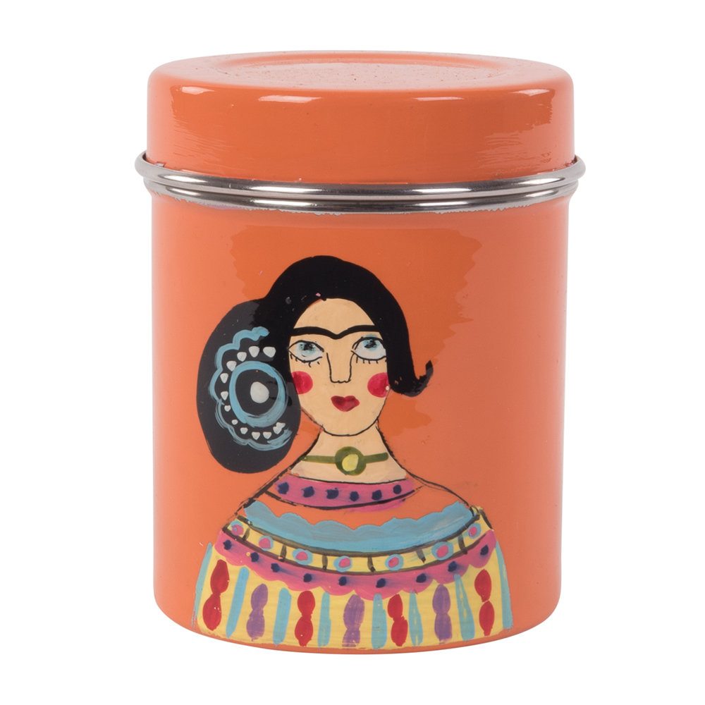 Ian Snow - Hand Painted Frida Kahlo Stainless Steel Canister - Orange