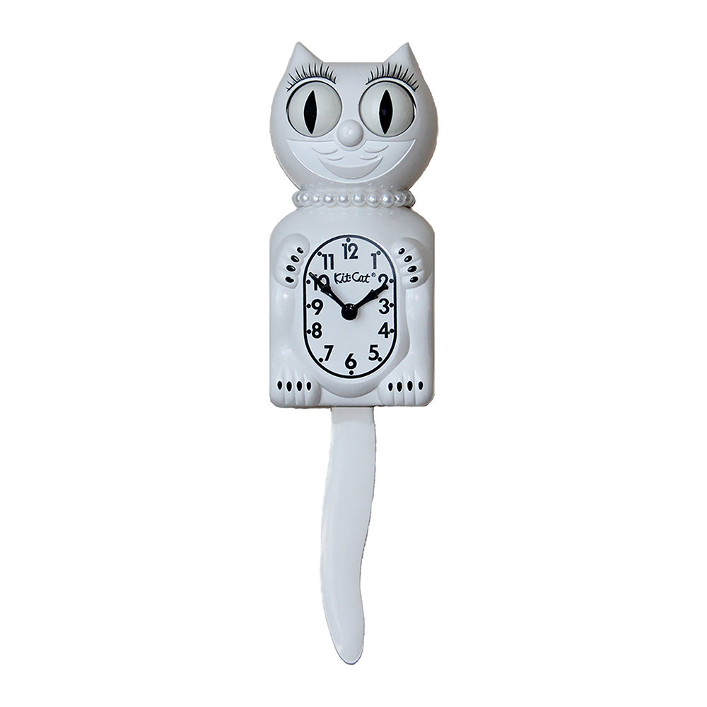Kit-Cat Klocks - Classic White Wall Clock - Pearls