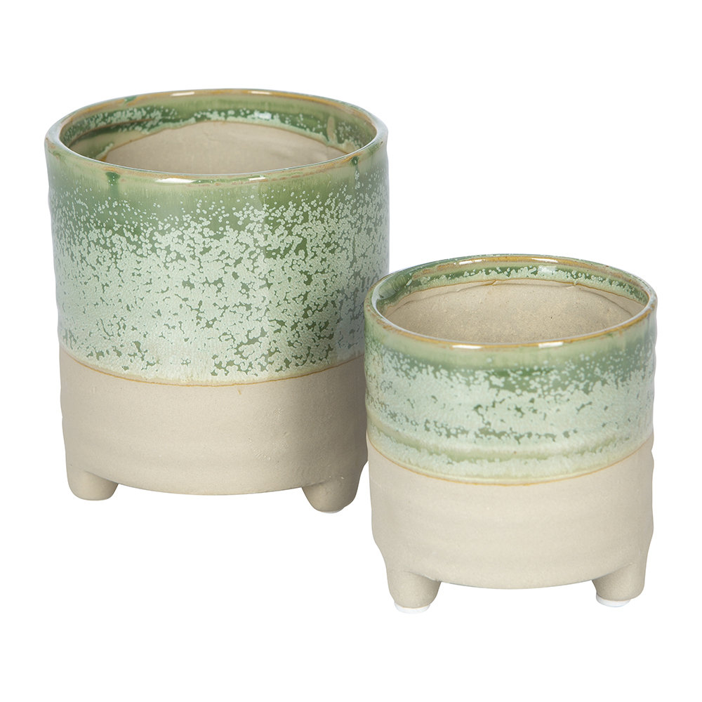IvyLine - Milan Mini Plant Pots - Set of 2 - Ice Green