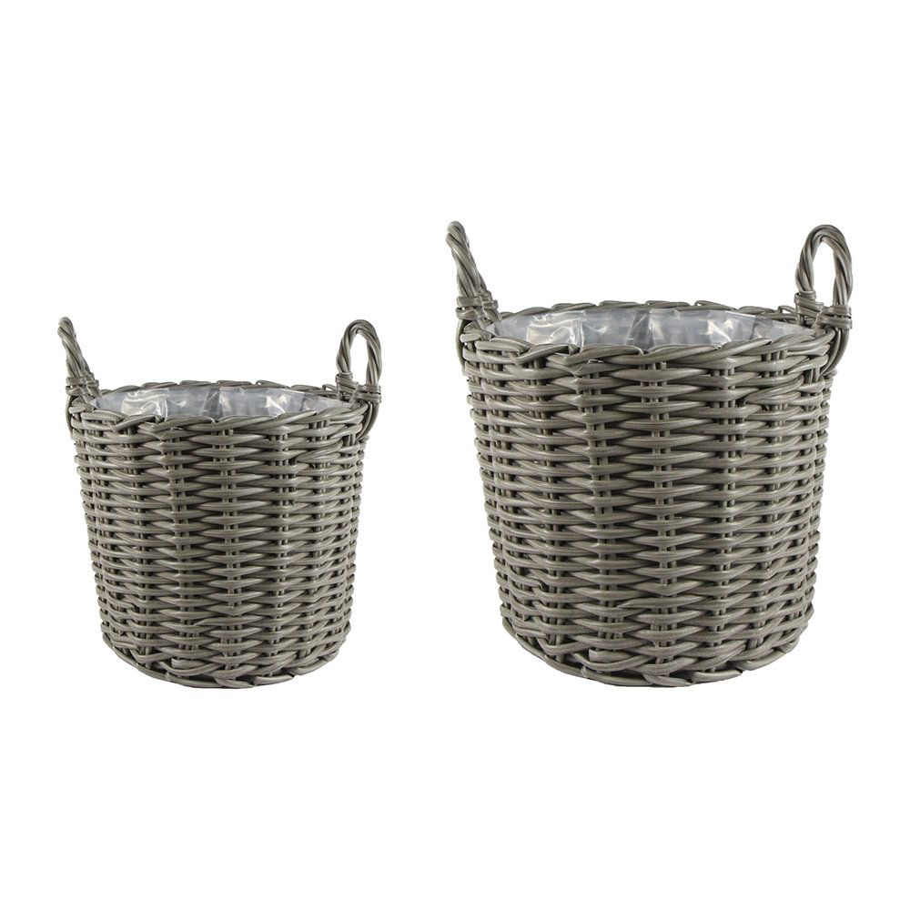 IvyLine - Polyrattan Planter - Set of 2 - Grey