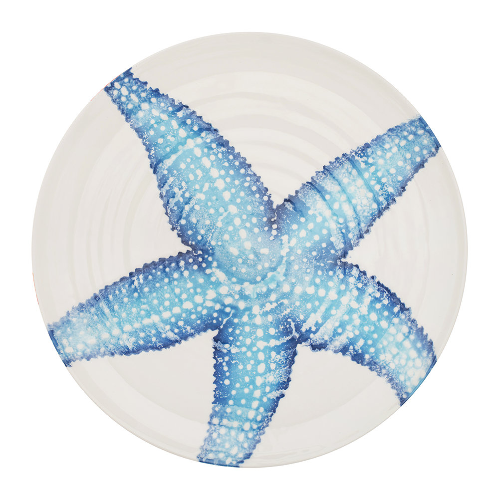 Bliss Home - Creatures Large Starfish Platter - Blue