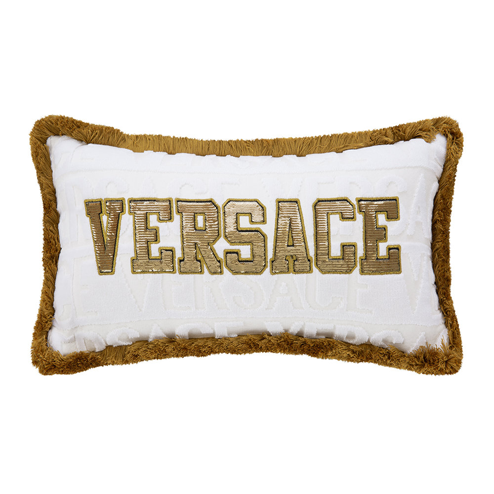 Versace Home - LogoMania Pillow - 45cm x 25cm - White/Gold