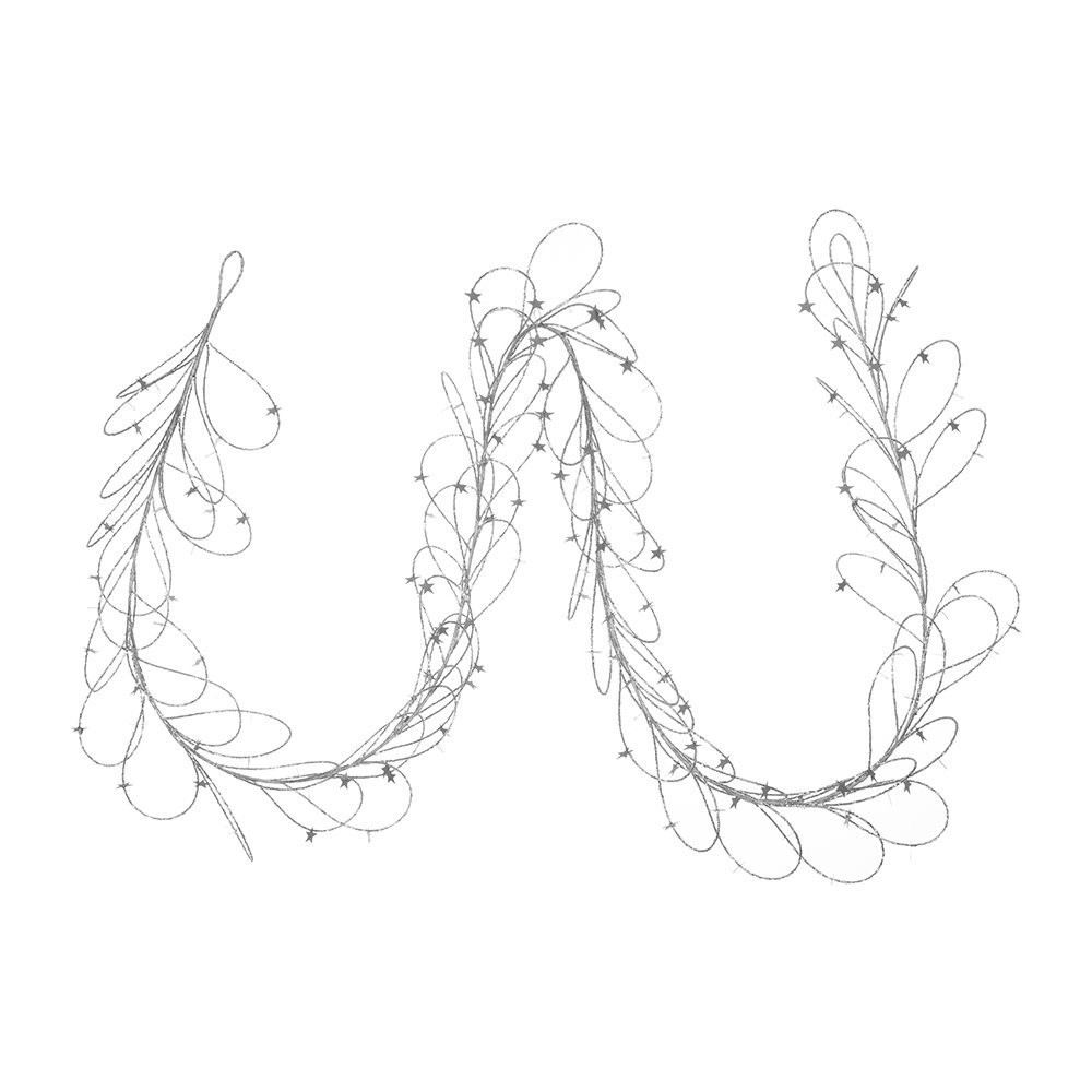 A by Amara - Beaded Garland with Star Sequins - Set of 2 - Silver