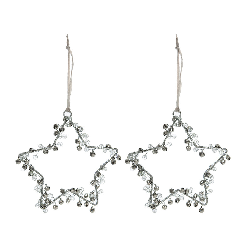 A by Amara - Beaded/Bells Star Decoration - Set of 2