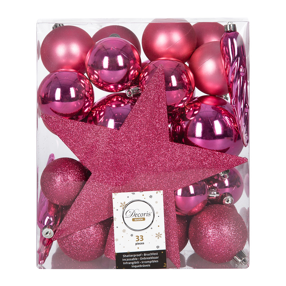 A by AMARA - Set of 33 Assorted Baubles and Tree Topper - Flashing Pink