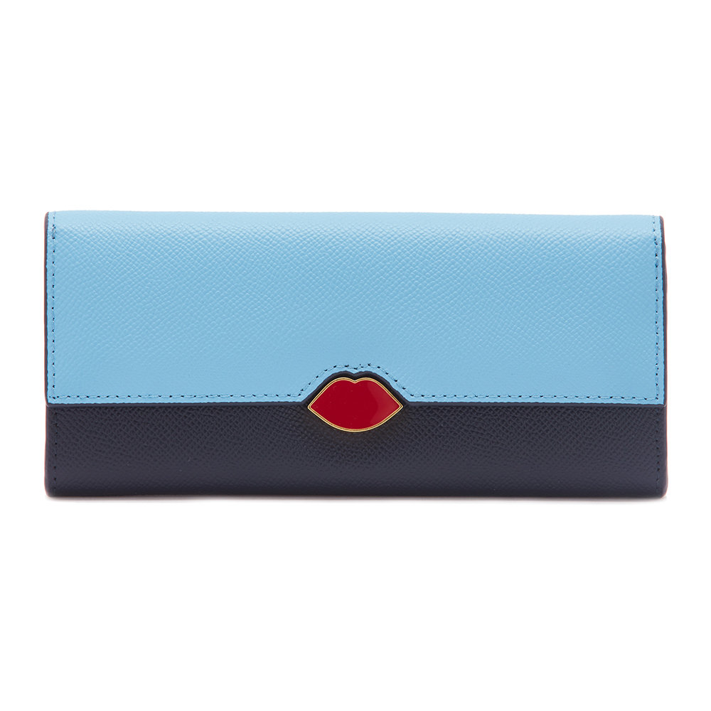 Lulu Guinness - Lip Cut Out Cora Wallet - Sky/Navy