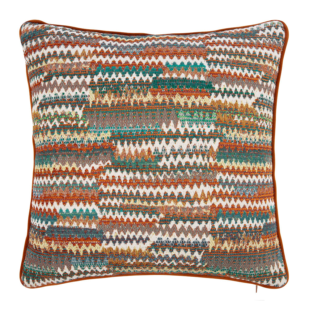 Mulberry Home - Landscape Cushion - Teal/Spice - 45x45cm