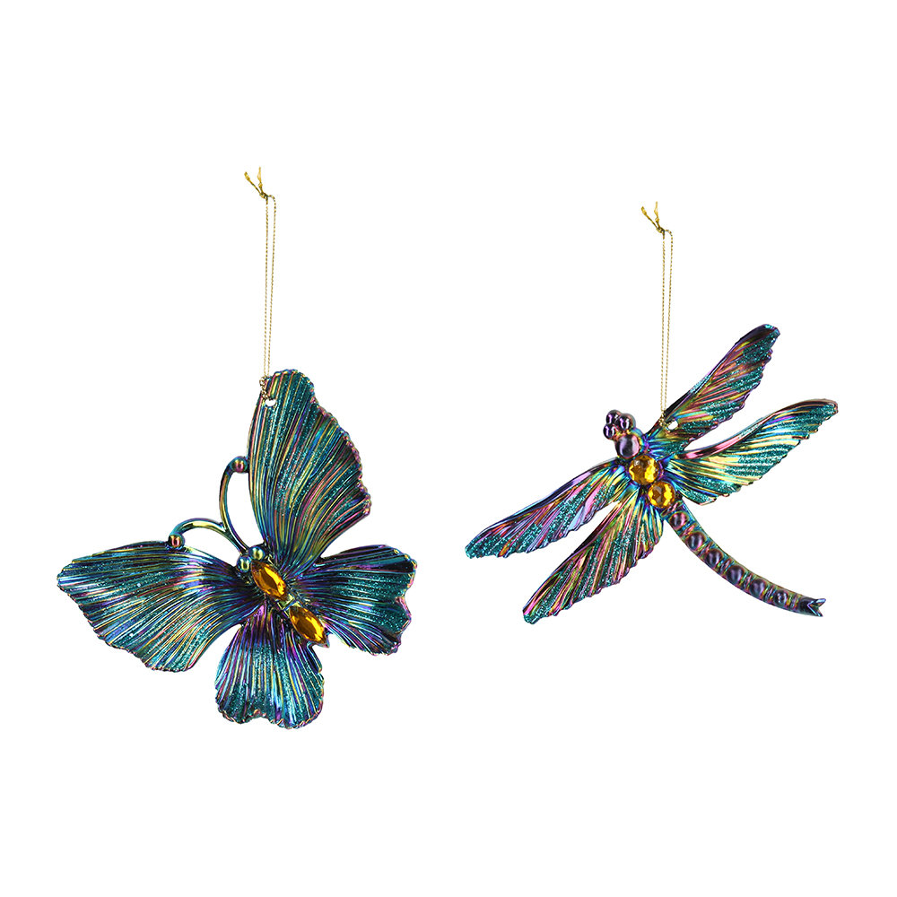 Gisela Graham - Butterfly and Dragonfly Tree Decoration - Set of 2 - Petrol